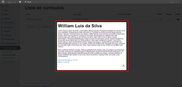 Lista de currículos ‹ wiliamluis — WordPress - lightbox